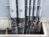 Complex pipe for electrical wire. Stock Image