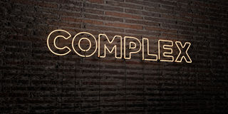 COMPLEX -Realistic Neon Sign on Brick Wall background - 3D rendered royalty free stock image Stock Image