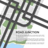 Complex road junction on a map background. Place for text. Top v. Iew. Vector illustration Royalty Free Stock Photo
