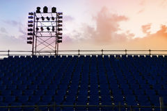A complex scaffold setup for a stage for an outdoor concert. Seen at sunset Royalty Free Stock Photography