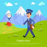 Complex Service to any Part of the World. Vector. Complex service to any part of the world. World delivery banner with postman and tent in the mountains. Mailman Royalty Free Stock Photos
