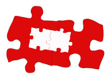 Complex Solution. Multiple connecting red & white puzzle pieces Royalty Free Stock Photos