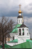 Russia. Gold ring. Vladimir. Fragment of the ensemble of the Spasskaya and Nikolskaya churches on the background of the sky. Stock Image