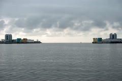 Complex of structures protecting St. Petersburg. KRONSTADT, SAINT PETERSBURG, RUSSIA - AUGUST 21, 2017: Navigation structure C-1 of the complex of structures Royalty Free Stock Photography