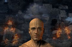 Zen. Complex surreal painting. Ancient ship on a sand dune. Burning figure of man in lotus pose. Man`s head with puzzle pattern. Human elements were created with Royalty Free Stock Photo