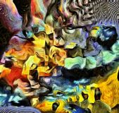 Thoughts. Complex surreal painting. Men with different thoughts and questions. Multilayered fractal. Human elements were created with 3D software and are not Stock Photography