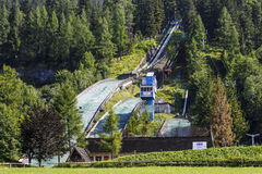 Complex of three ski jumps Royalty Free Stock Images
