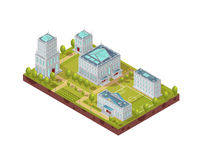 Complex Of University Buildings Isometric Layout Stock Photo