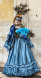Complex Venetian Disguise. Venice,Italy- March 2, 2014: Unidentified woman wearing a complex blue disguise with peacock feathers,butterfly and bird during the Royalty Free Stock Images