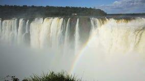 Complex of waterfalls Cataratas del Iguazu on Iguazu River on border of Argentina and Brazil. Largest waterfall Garganta del Diablo on Iguazu River, Iguazu stock video footage