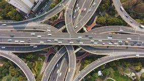 Complex Weg Stedelijk Viaduct in Sunny Day Shanghai, China Lucht Mening stock footage