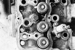 Complex workings is part of the old engine. Image of monochrome Stock Images