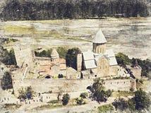 Complexe de forteresse d'Ananuri sur la rivière d'Aragvi en Géorgie Digitals illustration stock