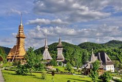 Complexe de monastère de Barsana dans Maramures Image libre de droits