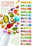 Complexe de vitamine avec des sources végétariennes de nourriture illustration de vecteur