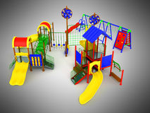 Complexe geeft 3d van het kinderen` s spel op grijze achtergrond terug Stock Foto