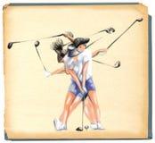 Complexe motie van een golfspeler vector illustratie