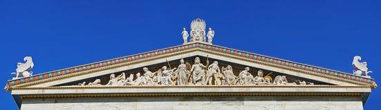 Complexe sculptural des douze dieux antiques sur le bâtiment d'académie à Athènes image stock