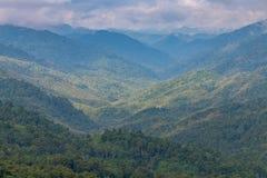 Complexidade da paisagem da montanha e do vale e diversidade da árvore da floresta com as baixas nuvens bonitas na parte superior fotografia de stock