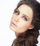 Complexion. Natural Brunette with Clean Skin Stock Images