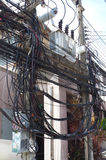The complexity of the cable wire on street of Samui, Thailand. This is the complexity of cable wire. it is so dangerous for tourist to walk pass by Stock Photos
