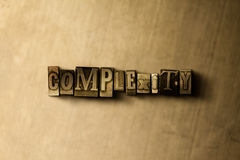 COMPLEXITY - close-up of grungy vintage typeset word on metal backdrop Royalty Free Stock Photos