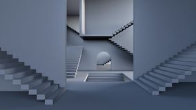 Complexity concept, Modern hall with stairs 3d render. 3d illustration stock illustration