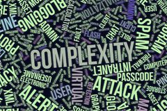 Complexity, conceptual word cloud for business, information technology or IT. Complexity, IT, information technology conceptual word cloud for for design royalty free illustration