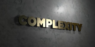 Complexity - Gold text on black background - 3D rendered royalty free stock picture Royalty Free Stock Photography