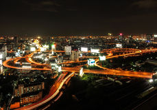 The complexity of the high way in Bangkok city, Thailand. The roads of high way are always making the driver confuse and lost. This is one of the complex road Royalty Free Stock Photo
