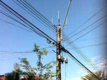 Complexity of wire pole in Thailand. So Royalty Free Stock Photos