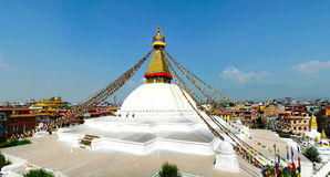 Complexo budista de Boudhanath situado na cidade de Kathmandu, Nepal Imagens de Stock