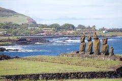 Complexo cerimonial de Tahai na Ilha de Páscoa, o Chile imagem de stock