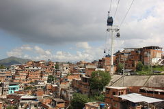 Complexo fa la cabina di funivia di Alemão in Rio de Janeiro Fotografia Stock Libera da Diritti