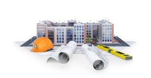 Complexo residencial europeu moderno em um fundo branco com plano e ferramentas do desenho ilustração royalty free