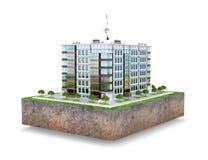 Complexo residencial europeu moderno em um lote de terra Isolado no fundo branco ilustração do vetor