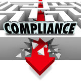 Compliance Arrow Breaks Through Maze Breaking Rules Stock Image