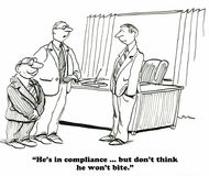 Compliance. Business cartoon about penalties given to the corporation by the regulatory compliance department stock illustration