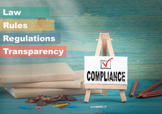 Compliance, business and strategic concept. notice board by the books and money, and notifications.  Royalty Free Stock Images