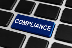 Compliance button on keyboard. Compliance blue button on keyboard, business concept Stock Image