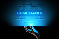 Compliance concept with icons and text. Regulations, law, standards, requirements, audit diagram on virtual screen. Compliance concept with icons and text stock photo