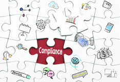 Compliance concept. Last piece of a Puzzle. Compliance concept. White last piece of a Puzzle Royalty Free Stock Image