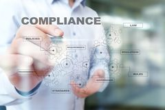 Compliance concept on virtual screen. Policy, Rules, Law Regulation. Compliance concept on virtual screen. Policy, Rules, Law Regulation royalty free stock photo