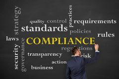 Compliance Concepts on Blackboard Background. Working Stock Image
