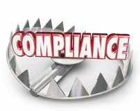 Compliance 3d Word Bear Trap Danger Risk Following Rules Laws Stock Photos