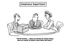 Compliance Department. Business or legal cartoon about the new regulations being as difficult to follow as a James Joyce novel Royalty Free Stock Photography