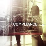 Compliance diagram with icons. Business concept on abstract background.  royalty free stock photos