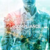 Compliance diagram with icons. Business concept on abstract background. stock photography