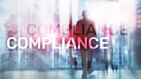 Compliance diagram with icons. Business concept on abstract background.  stock illustration