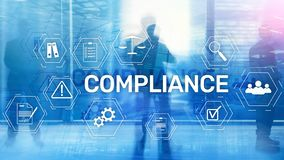 Compliance diagram with icons. Business concept on abstract background.  royalty free stock photo